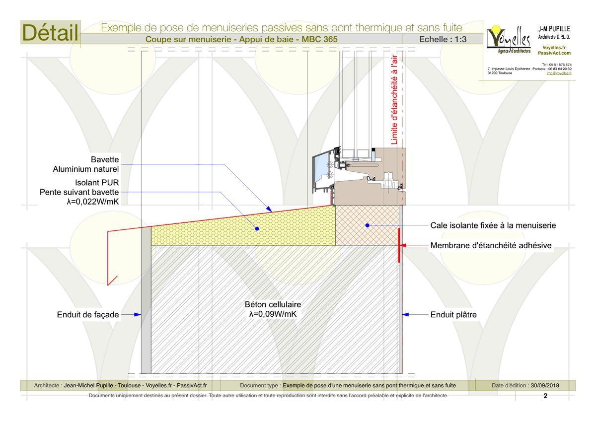 Detail Appui De Baie Beton Cellulaire Pont Thermique Beton Cellulaire Maison Passive