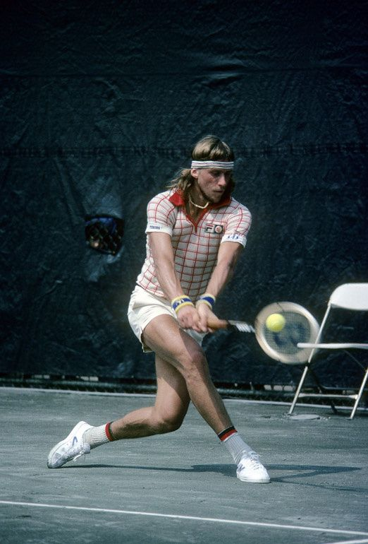 Tennis player Bjorn Borg from Sweden hits a backhand return