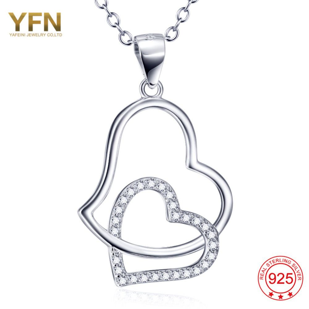 YFN Real 925 Sterling Silver Jewelry A Charm Heart Cross Big Heart Necklace Cross Heart Necklace Pendant Free Shipping GNX10234