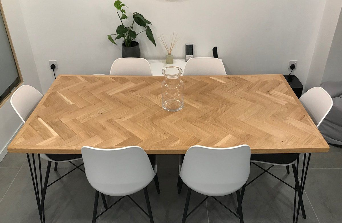 A Beautiful Parquet Herringbone Pattern Really Sets This Solid