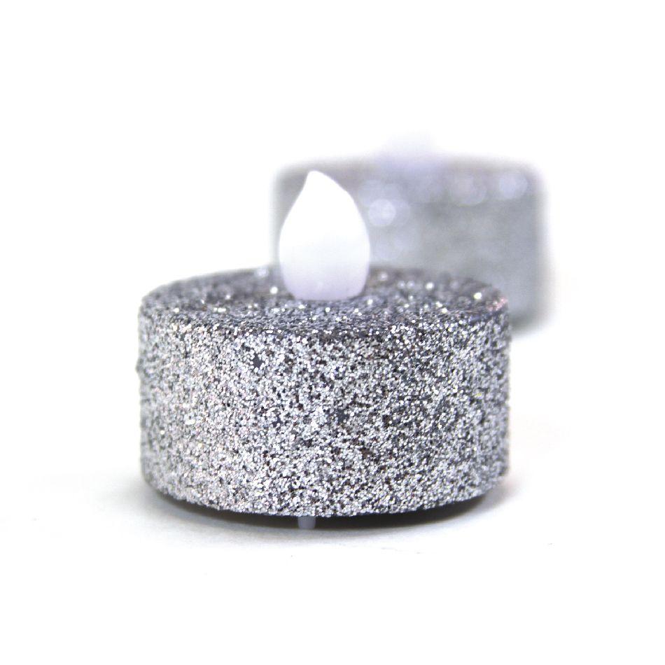 Silver Glitter Flameless Tealight Candles, 24-Pack [424554 ...