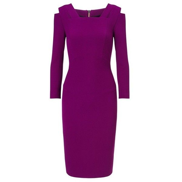 Roland Mouret Bleeker Dress (41 820 UAH) ❤ liked on Polyvore featuring dresses, grape, midi, cut out midi dress, cut-out dresses, calf length dresses, purple midi dress and roland mouret