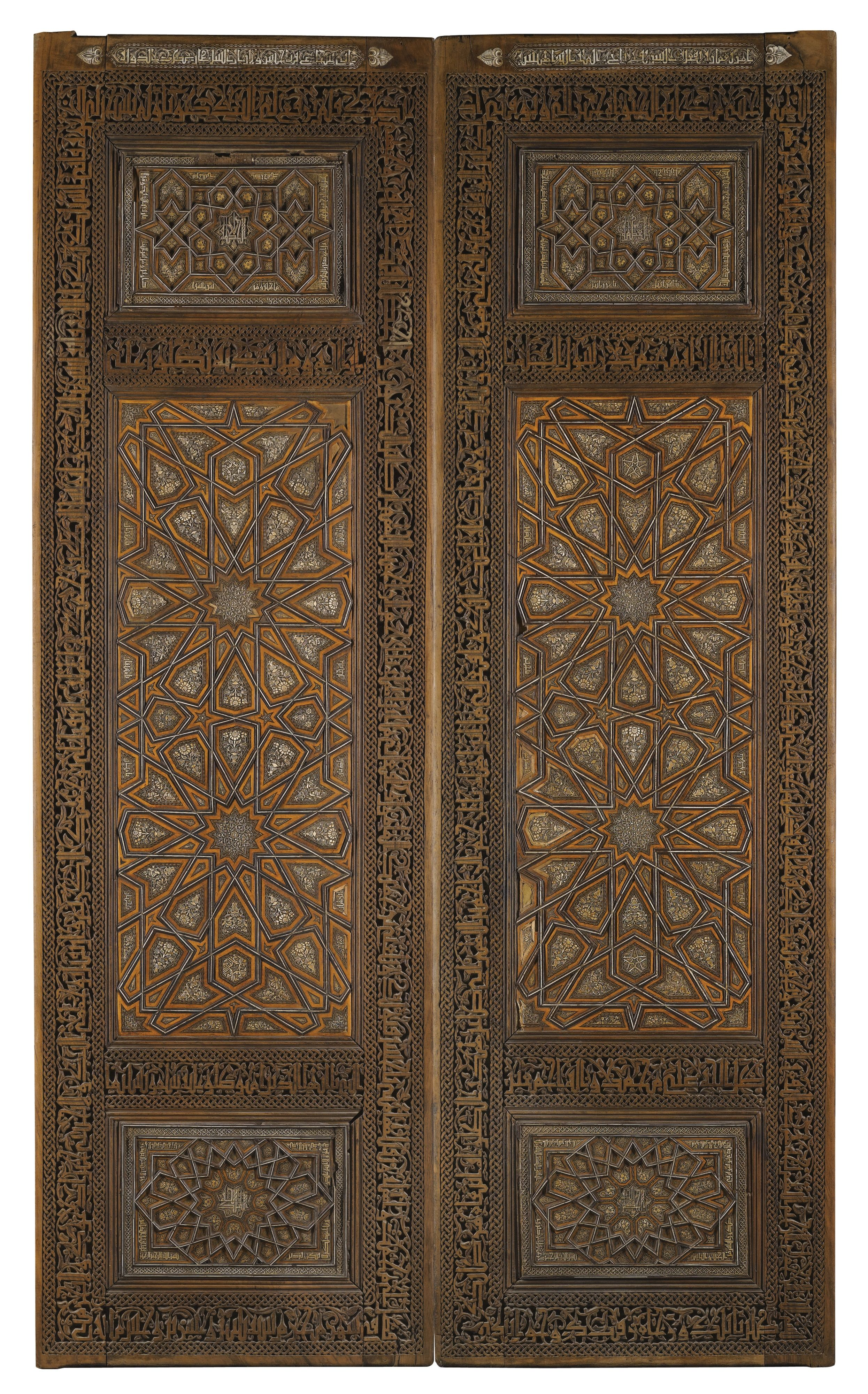 An Impressive Pair Of Ivory Inlaid Wooden Doors Persia