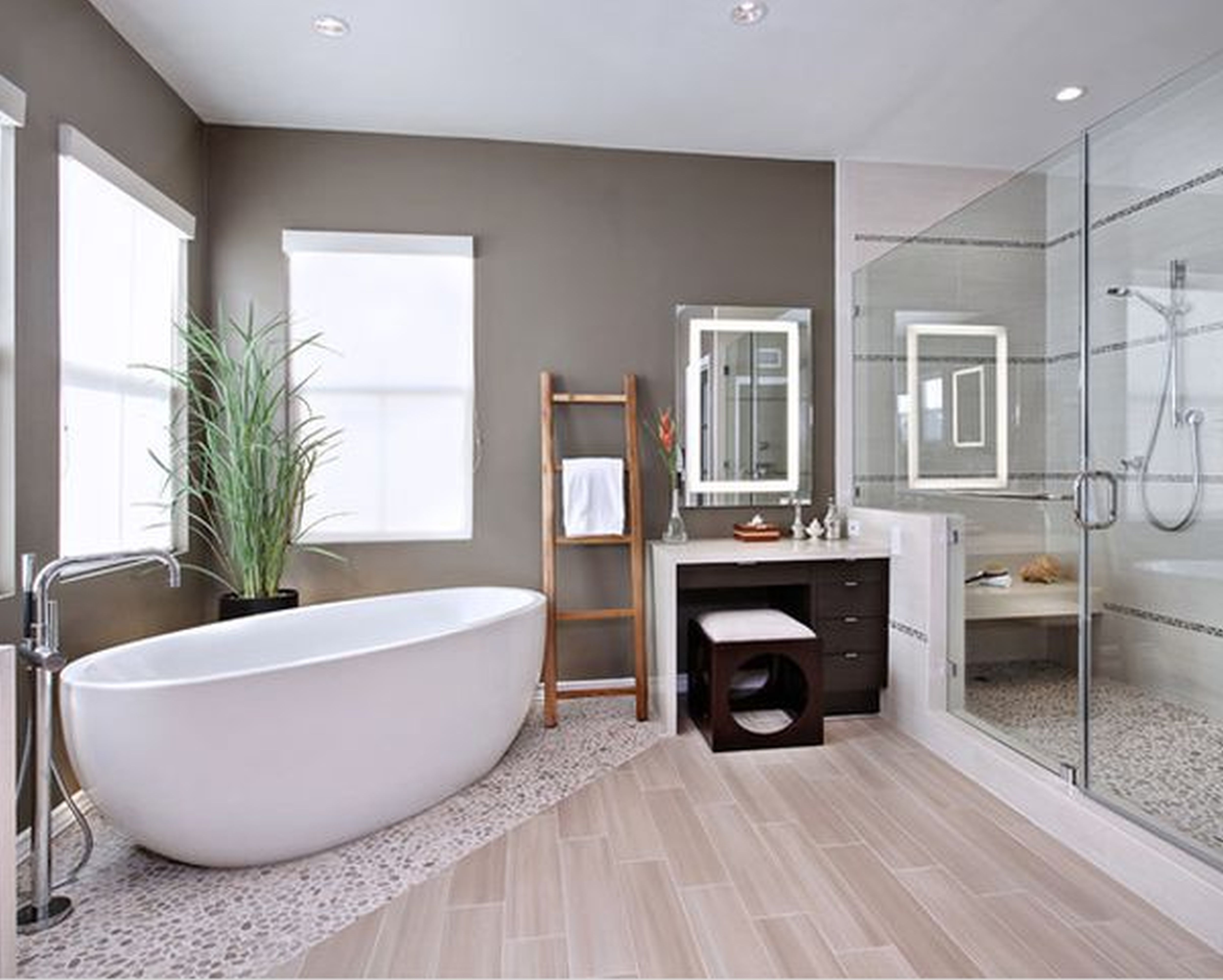 Create your very own spa in your bathroom using pebble for Bathroom dressing ideas