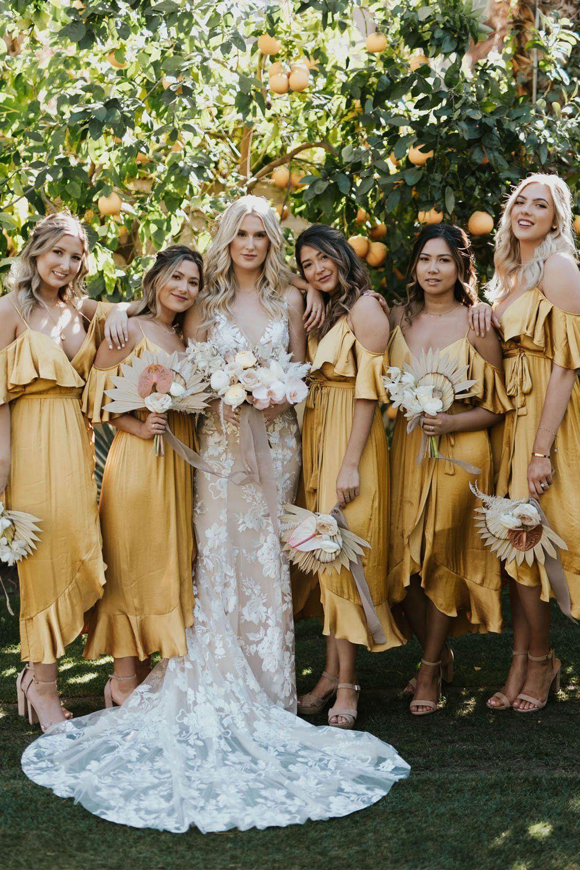 Yellow V Neck Spaghetti Straps High Low Bridesmaid Dresses Wedding Party Dresses BD1017