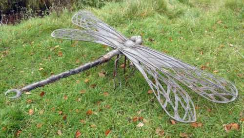 Copper Small Animal Sculpture By Artist Lynn Mahoney Titled: U0027Copper  Dragonfly Large Metal Sculpture