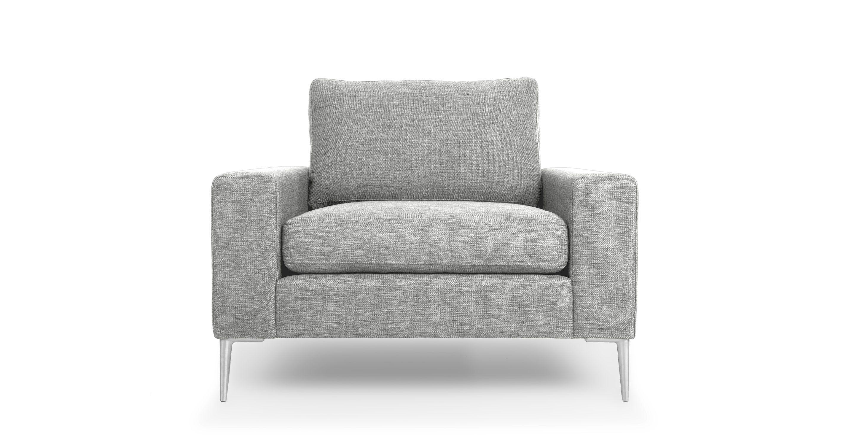 Light Gray Armchair With Metal Legs Article Nova Modern