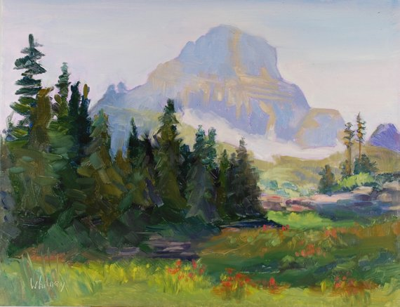 Mountain Landscape Original Oil Painting Glacier National Park