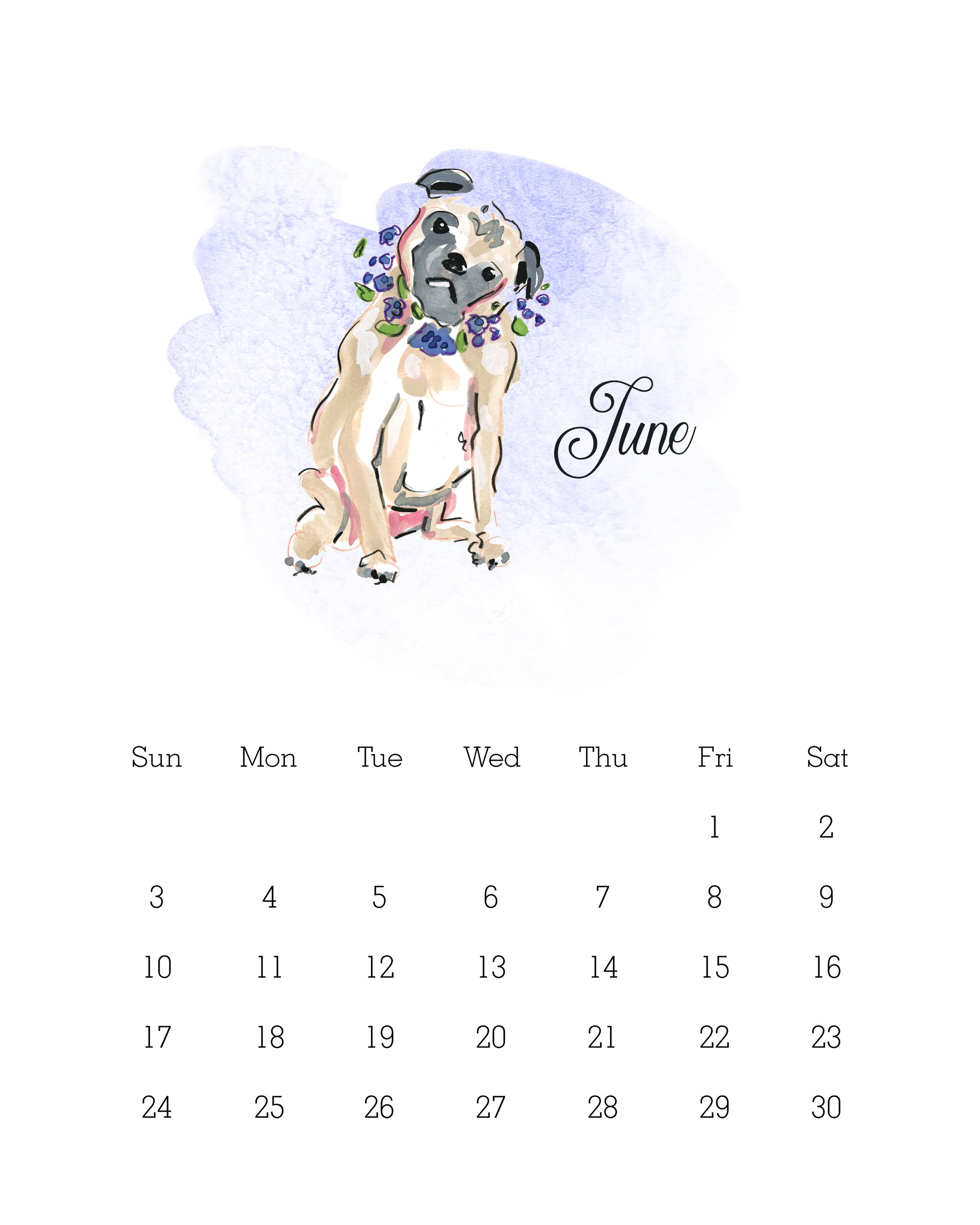Free Printable 2018 Watercolor Dog Calendar All Star Dog Dog