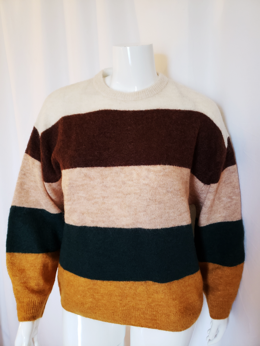 3d5b48d4ba6 H&M color blocked angora blend oversized sweater in cream, Merlot,  heathered pink, pine, and mustard.