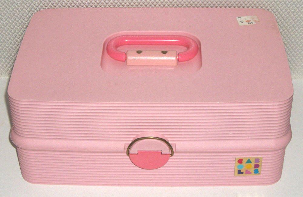 Vintage CABOODLES Big 2 Tier Pink Storage Trunk #2420 Organizer Makeup  Jewelry