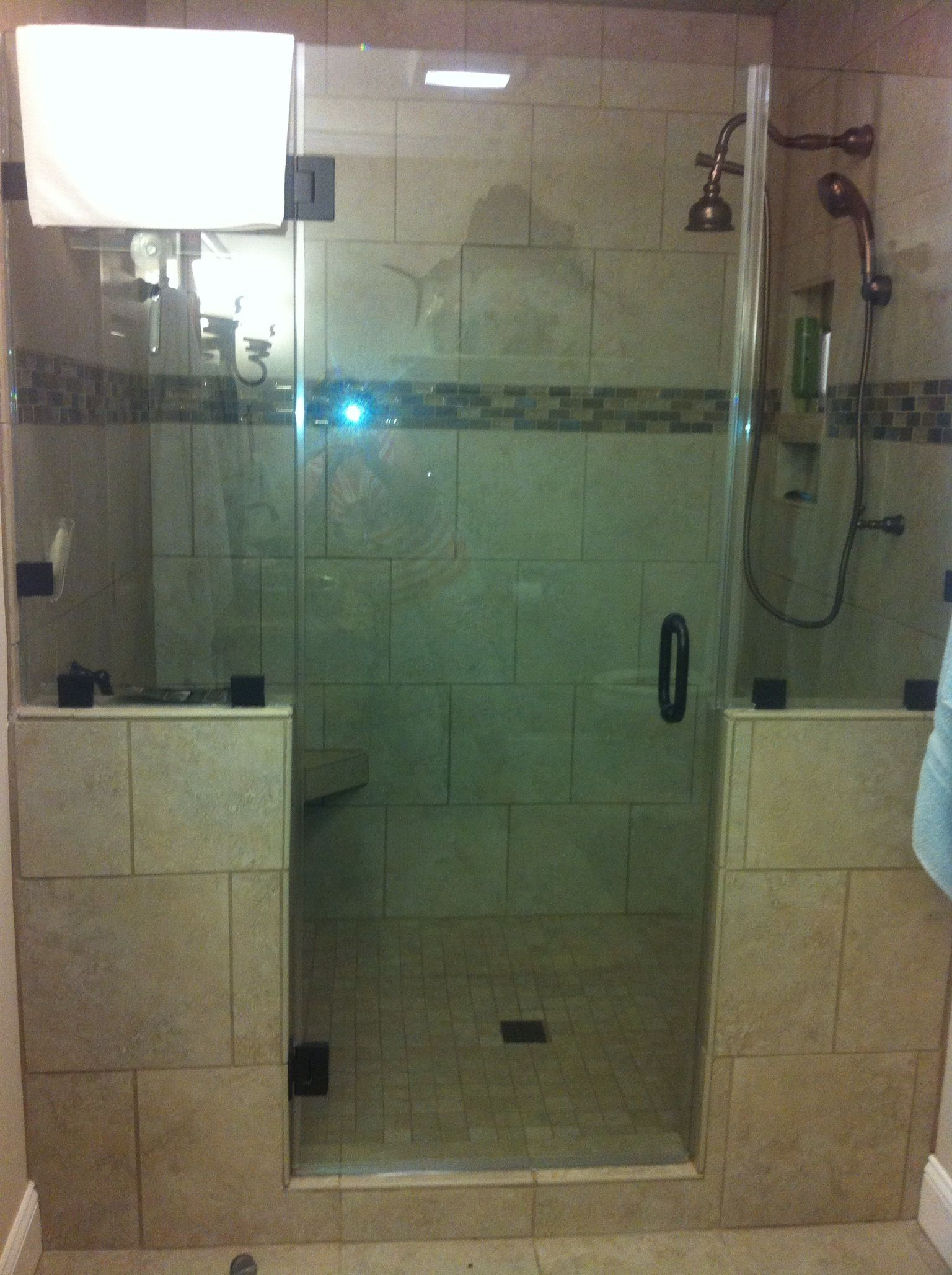 4' x 6' tiled shower- definitely adding in a second shower ...