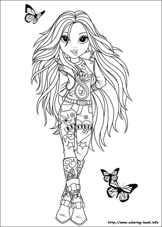 moxie girlz fashion doll with butterflies flying coloring page bjl