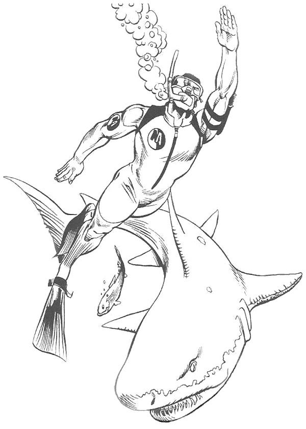 Action Man Swimming With Shark Coloring Page