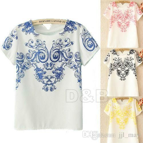 Discount 2015 New Vintage Trendy Symmetrical Blue And White Porcelain Print T Shirt Floral Pattern Back V Neck Chiffon T Shirt Tops 80289sweatshirt From China | Dhgate.Com