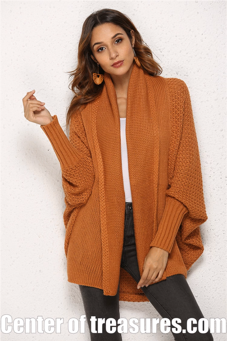 Photo of Cardigan Women's Sweater Batwing Long Sleeve Loose