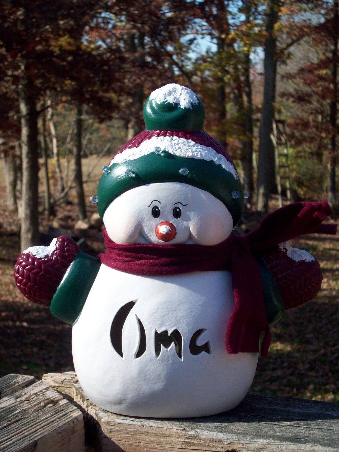 *SNOWMAN LAMP Light CHRISTMAS, a personalized Ceramic