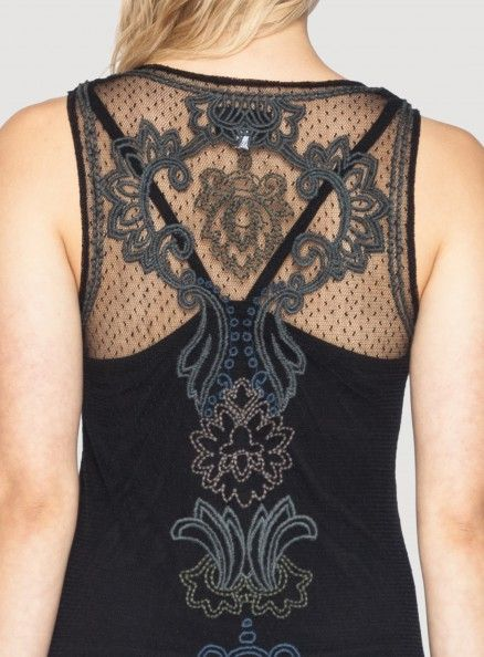 Back Detail: Johnny Was Biya Justina Embroidered Mesh Dress #decorative #paisley #embroidery #design