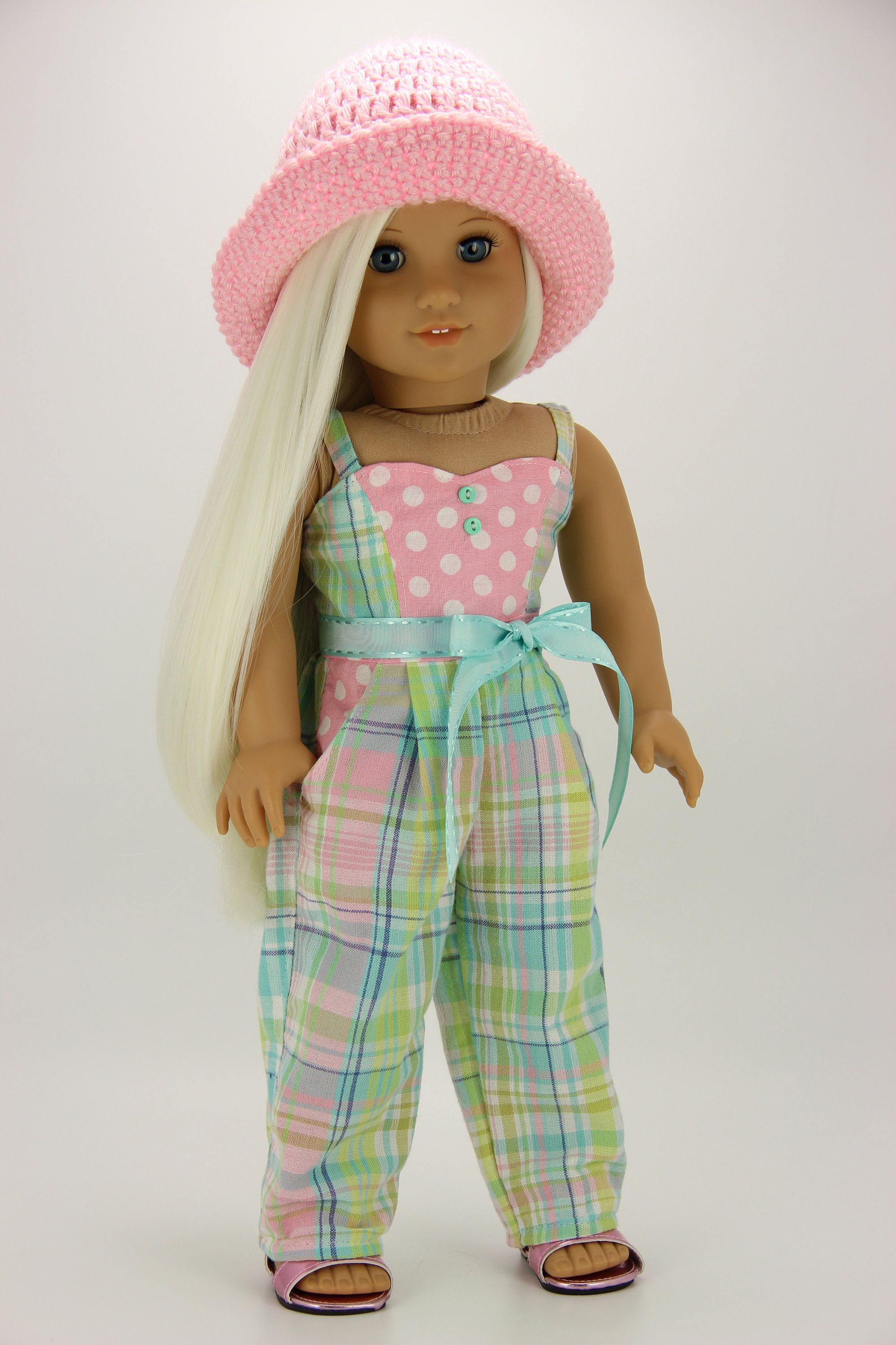 Photo of Handmade 18 inch doll clothes – Plaid and polka dot jumpsuit…