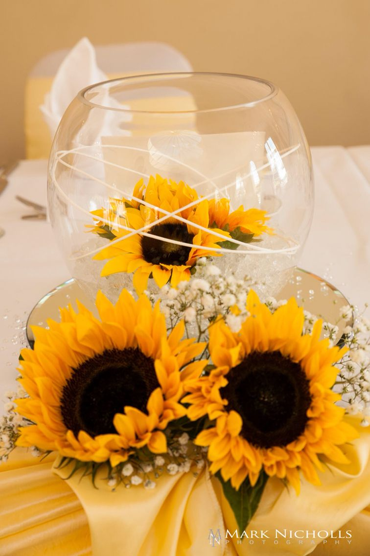 Diy sunflower wedding decorations  A sunflower yellow themed wedding at Manor Parc Cardiff in the