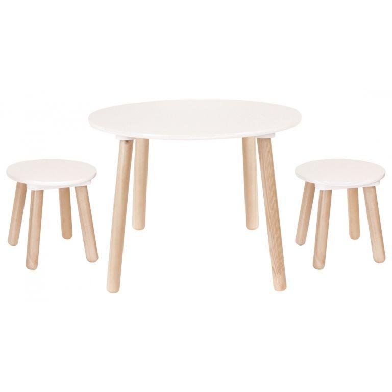 Skandinavischer Kindertisch & 2 Hocker Naturholz Weiß In