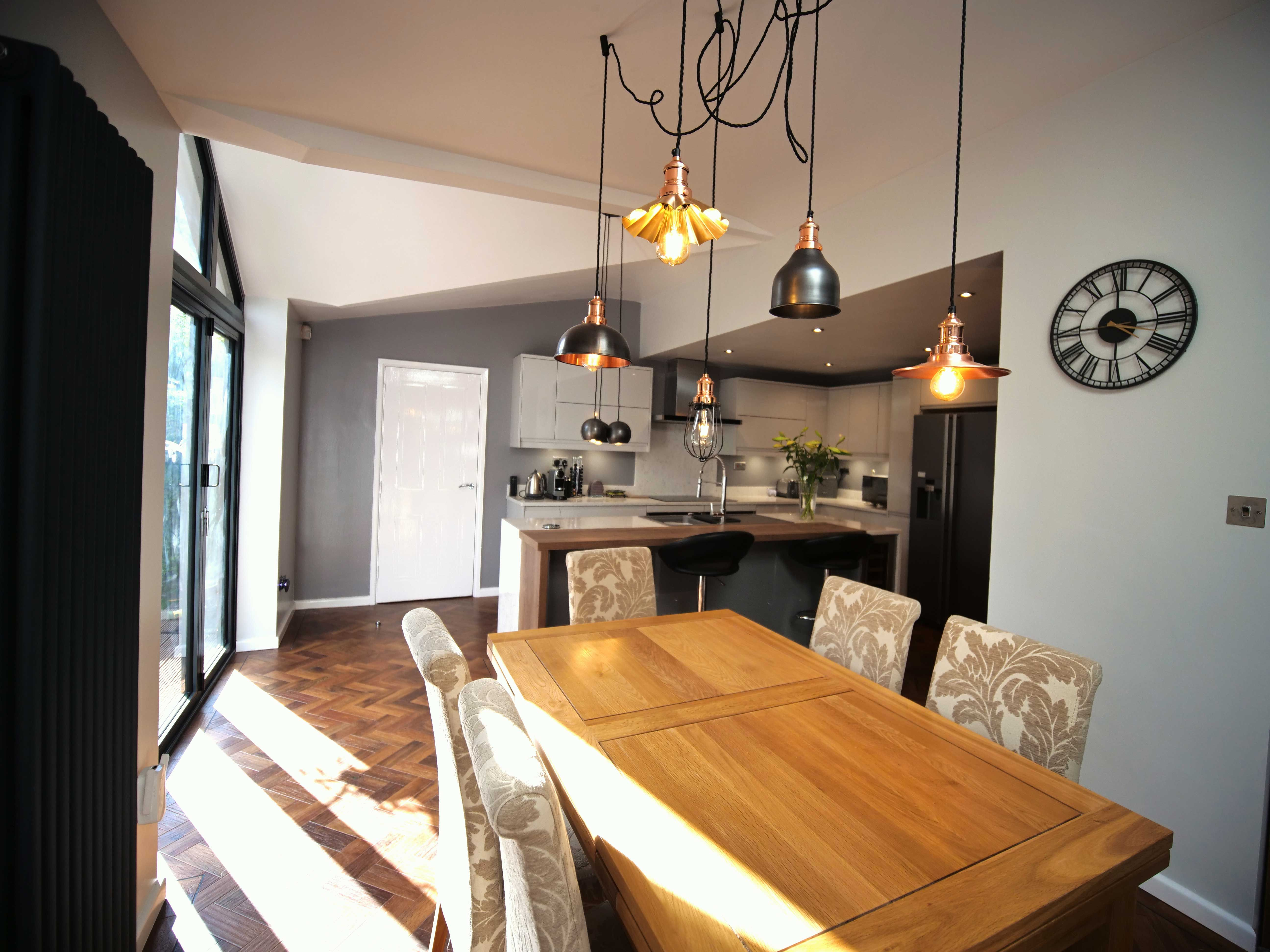 Tobacco oak breakfast bar on a central island (With images