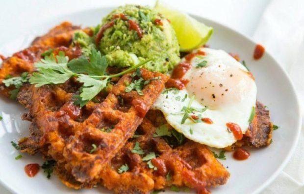 The Most Pinned Healthy Recipes On Pinterest Well Good Sweet Potato Waffles Sweet Potato Recipes Healthy Paleo Sweet Potato