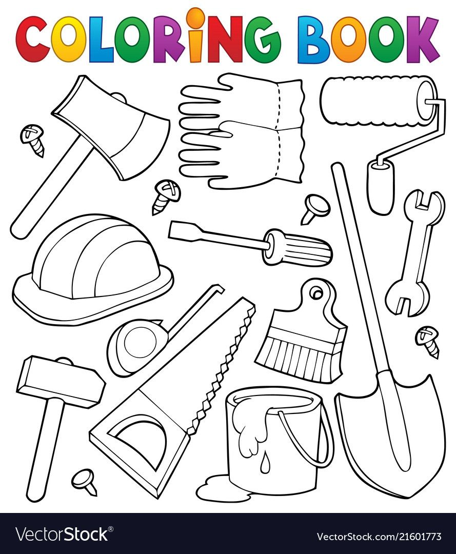 Coloring Book Tools Theme 1 Eps10 Vector Illustration Download A Free Preview Or High Quality Adobe Illustrato Coloring Books Tools Theme Fathers Day Crafts