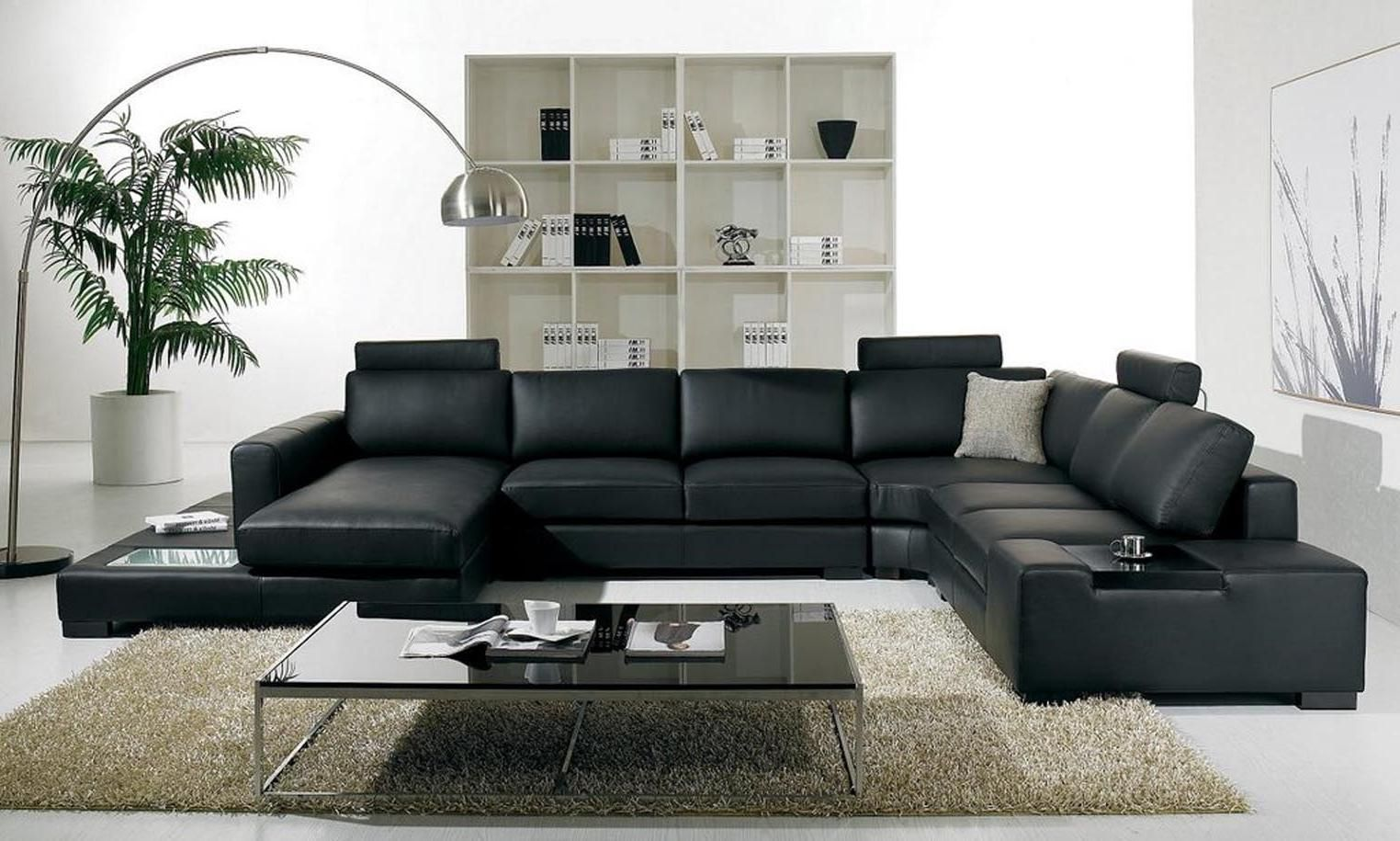 modern leather living room furniture ideas | Furry rugs, Leather ...
