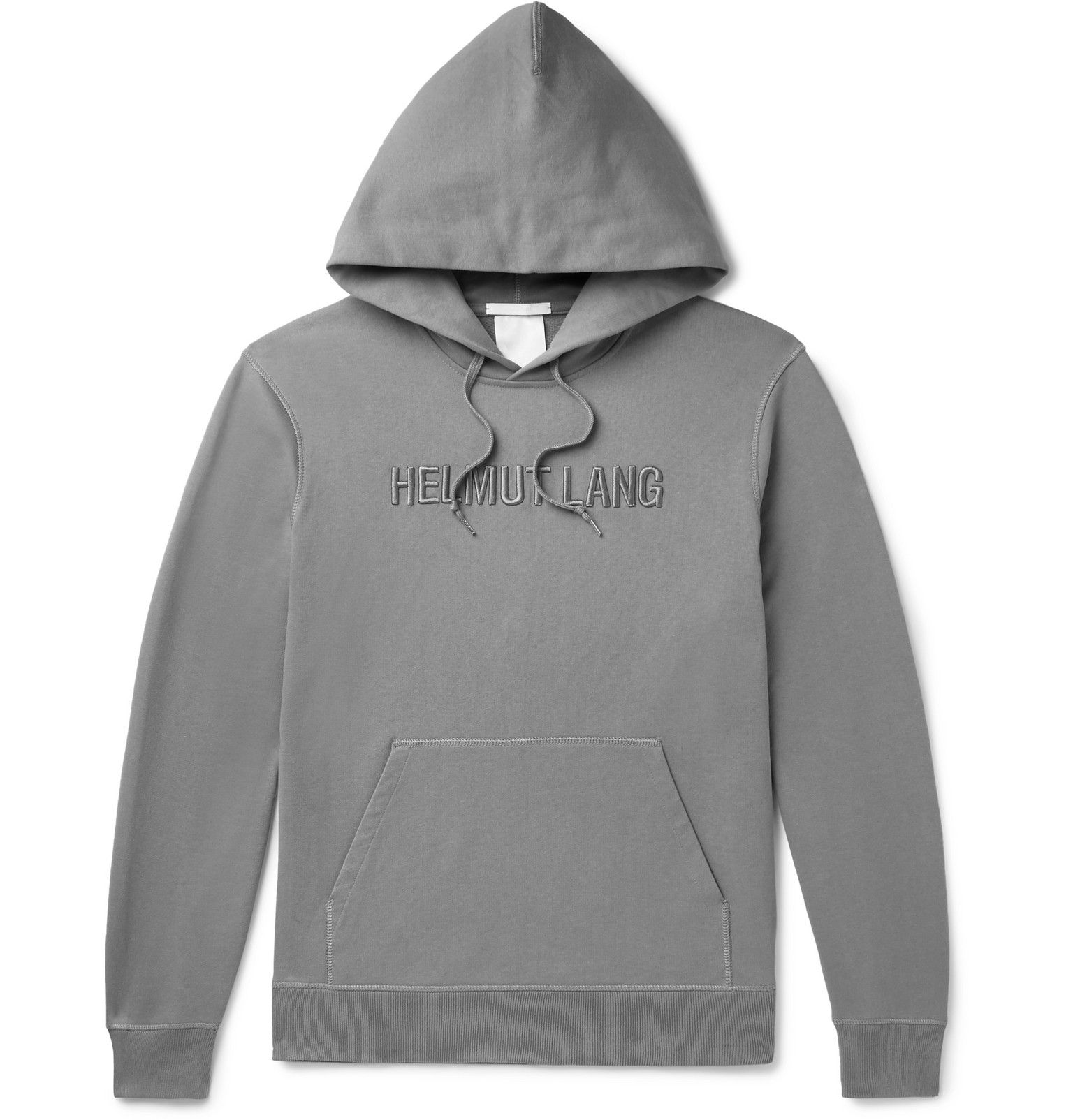 Helmut Lang Logo Embroidered Loopback Cotton Jersey Hoodie