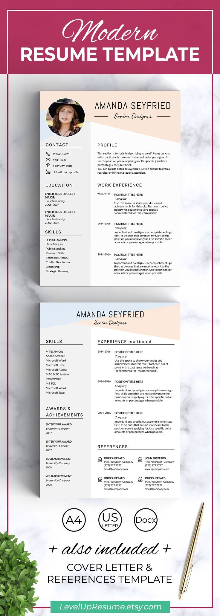 Feminine resume template Instant download Feminine cv