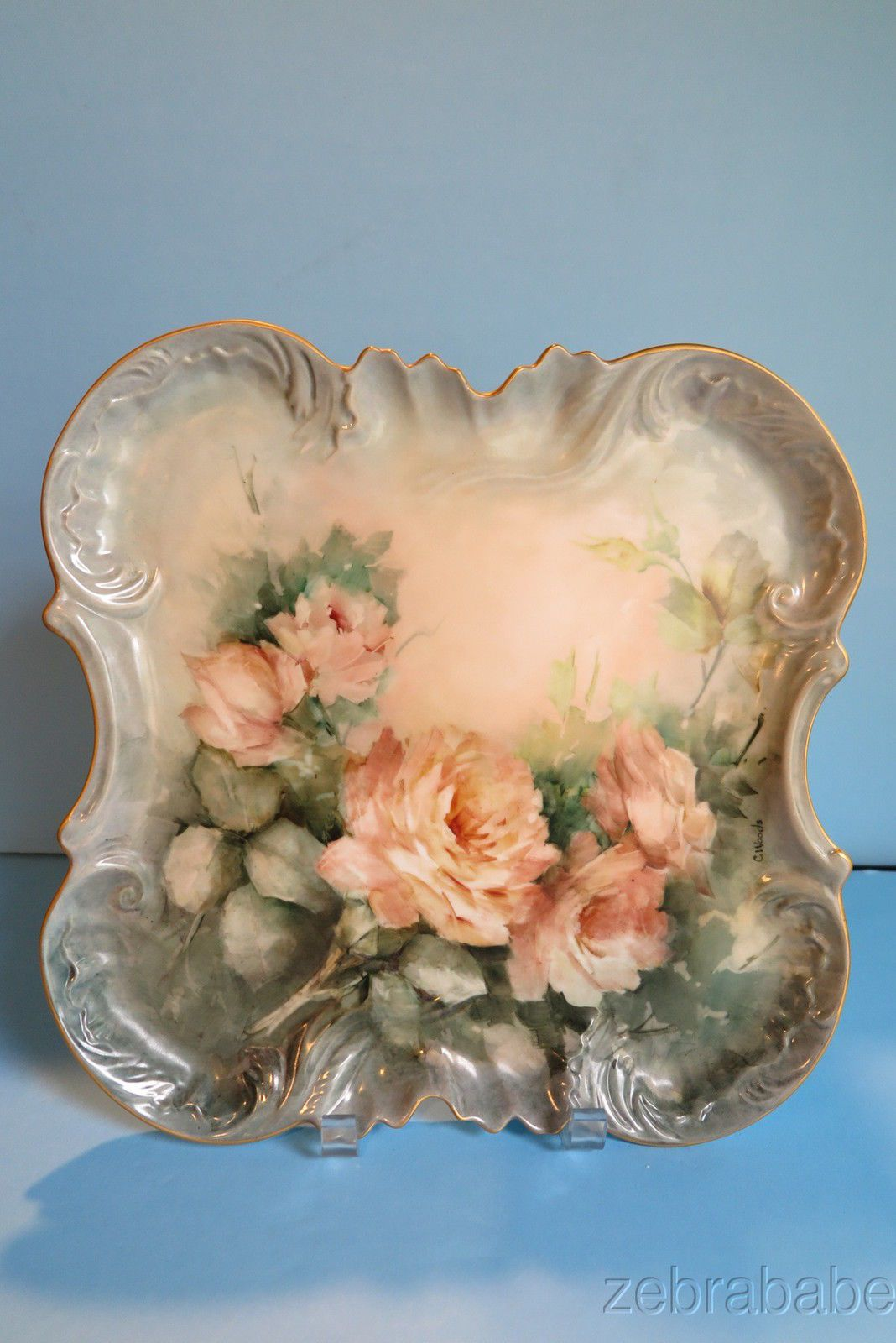 Limoges Hand Painted Platter Artist Signed C Woods Pink Roses Gold