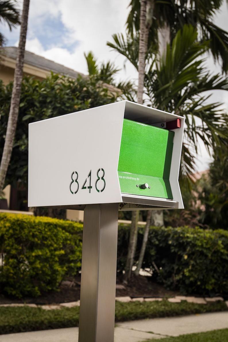 Midcentury Modern Contemporary Retro Designed Optional Locking Etsy Mounted Mailbox Modern Mailbox Retro Mailbox
