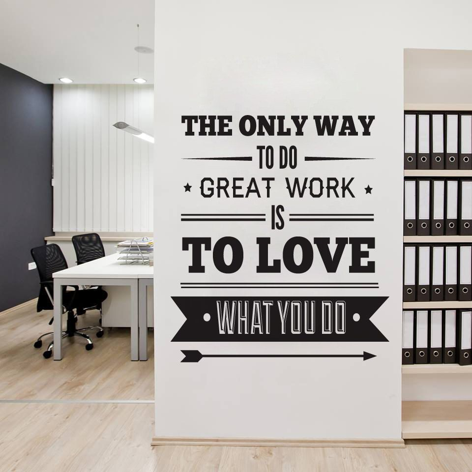 [] Office Decor Typography Inspirational Quote - Wall Decoration Art -  Success Quote - The Only Way to Do Great work, is to Love What you Do