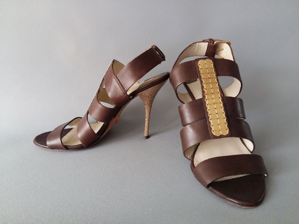 25a115e75616a4 TED BAKER Brown Gold Leather Strappy Heels Sandals Shoes US 7 UK 5 EU 38   TedBaker  Slingbacks