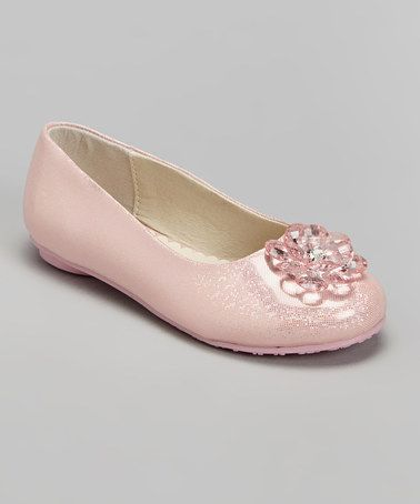 This Pink Embellished Shine Flat by Laura Ashley is perfect! #zulilyfinds