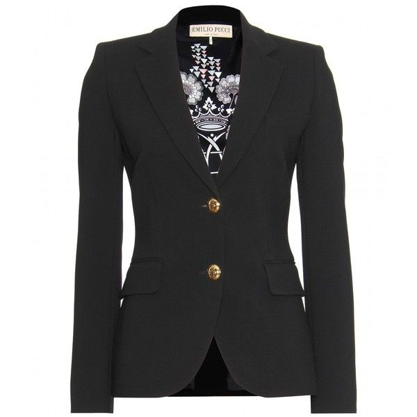 Emilio Pucci Wool-Crepe Tailored Blazer ($1,890) found on Polyvore