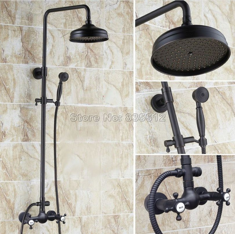 8 Inch Black Oil Rubbed Bronze Bathroom Rainfall Shower Set Faucet