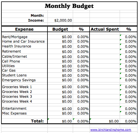 Creating And Maintaining A Monthly Budget Free Excel Spreadsheet New England Lifestyle Motherhood Diy Birch Landing Home Budgeting Excel Spreadsheets Monthly Budget Spreadsheet