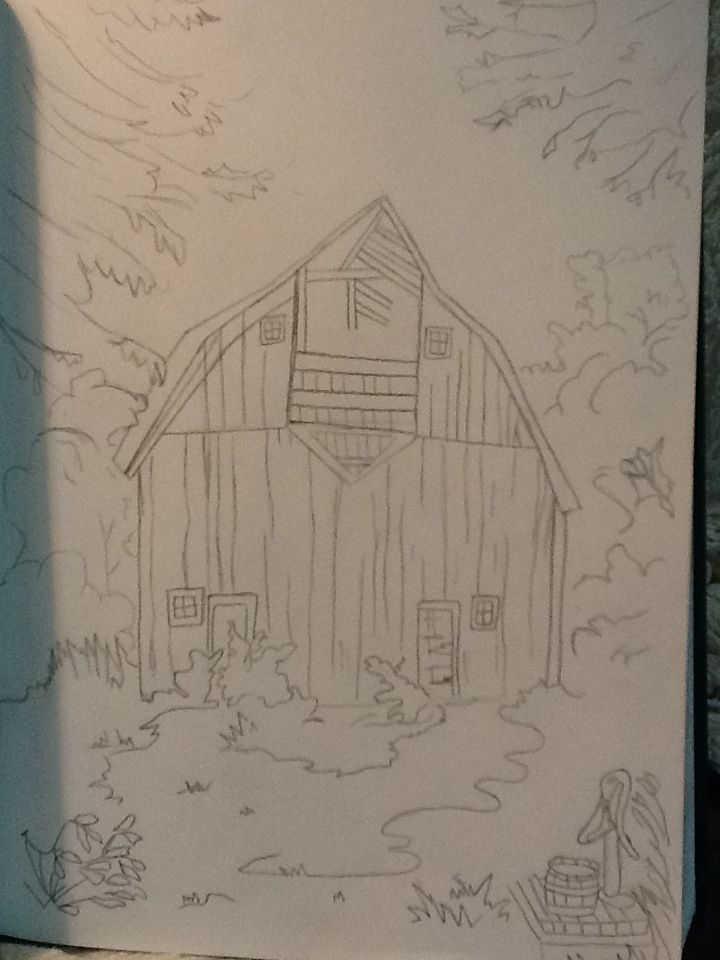 Outline of a barn. Gonna shade it later.