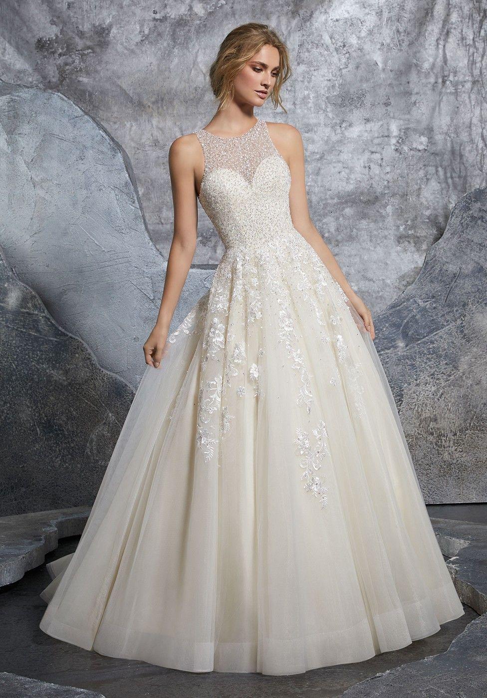 Mori lee kiara cutout back aline wedding dress matrimonio