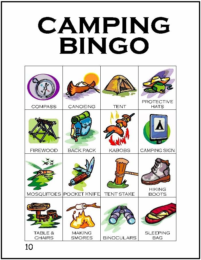 Tenth card in a series of 12 camping themed BINGO cards…