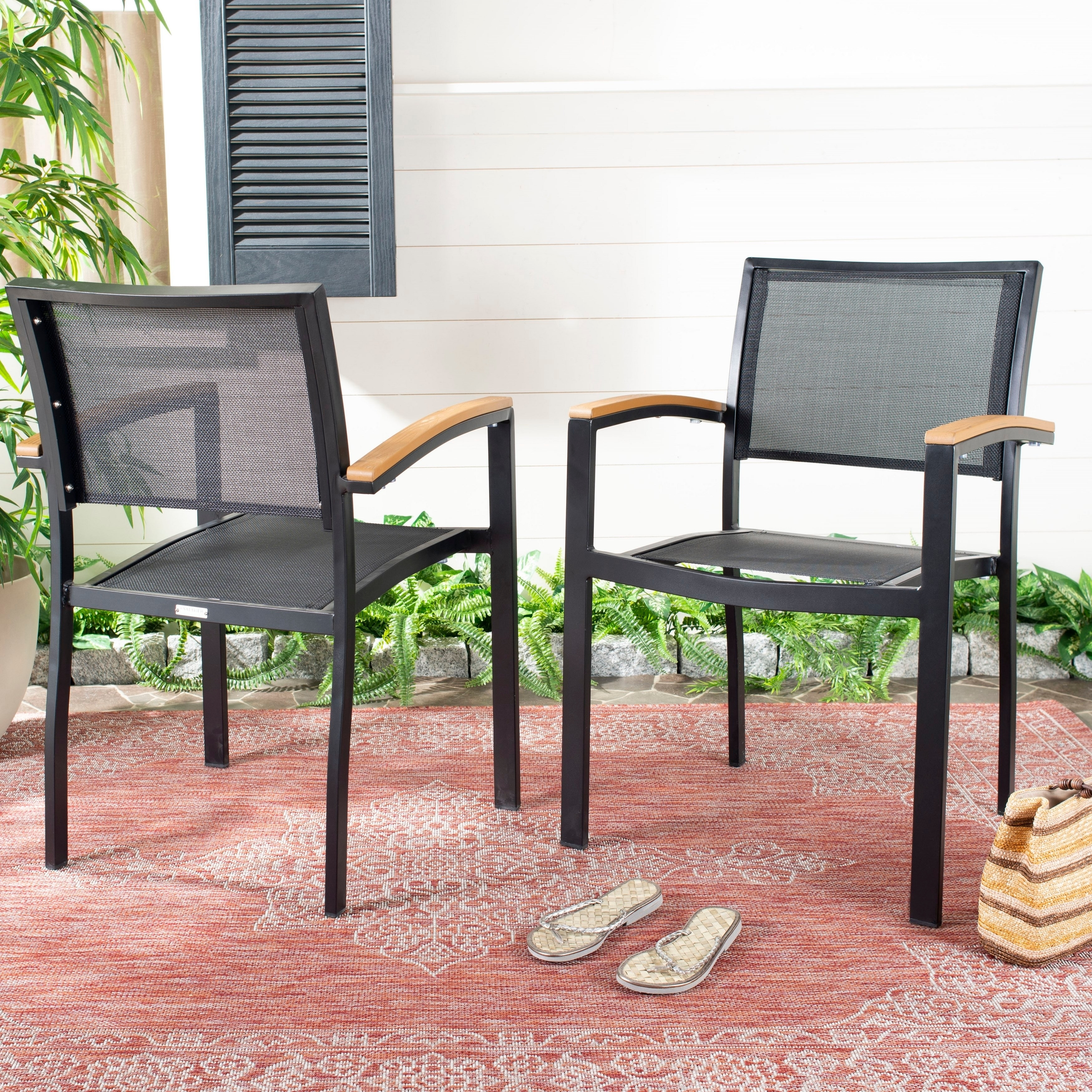 Awe Inspiring Safavieh Outdoor Living Kaelan Chair Black Brown Set Of Gmtry Best Dining Table And Chair Ideas Images Gmtryco