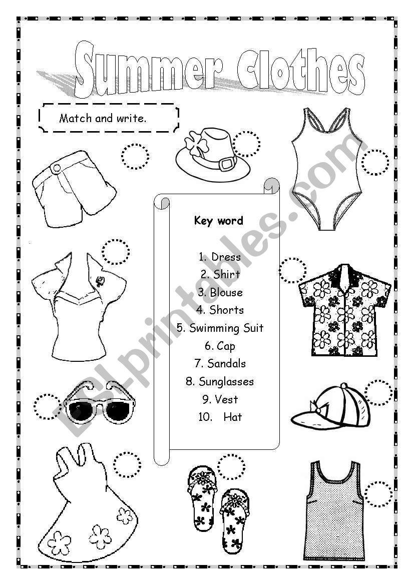 Summer Clothes ESL worksheet by saifonduan in 2020
