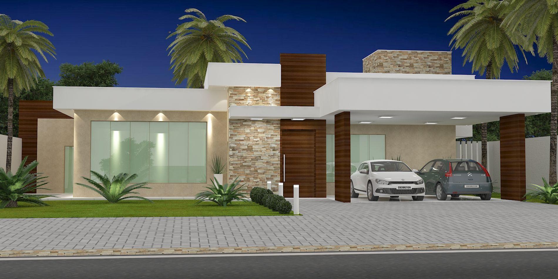 Fachada casa t rrea fachadas de casas modernas pinterest for Modelos de casas campestres modernas