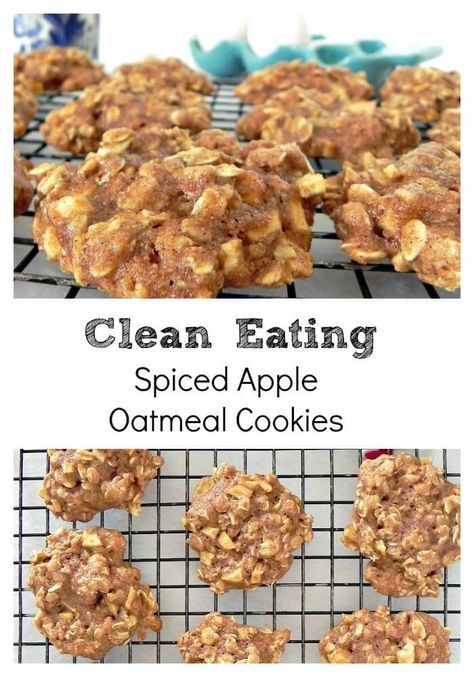 Clean Eating Spiced Apple Oatmeal Cookies #applerecipes