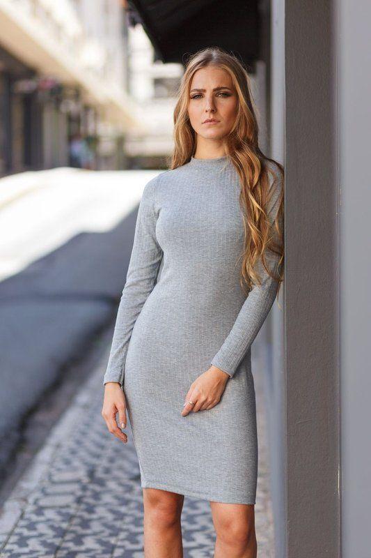 69ef9046db Vestido manga longa básico de malha cinza da marca Coleteria ♡ - Coletes  femininos e infantis - Coleteria