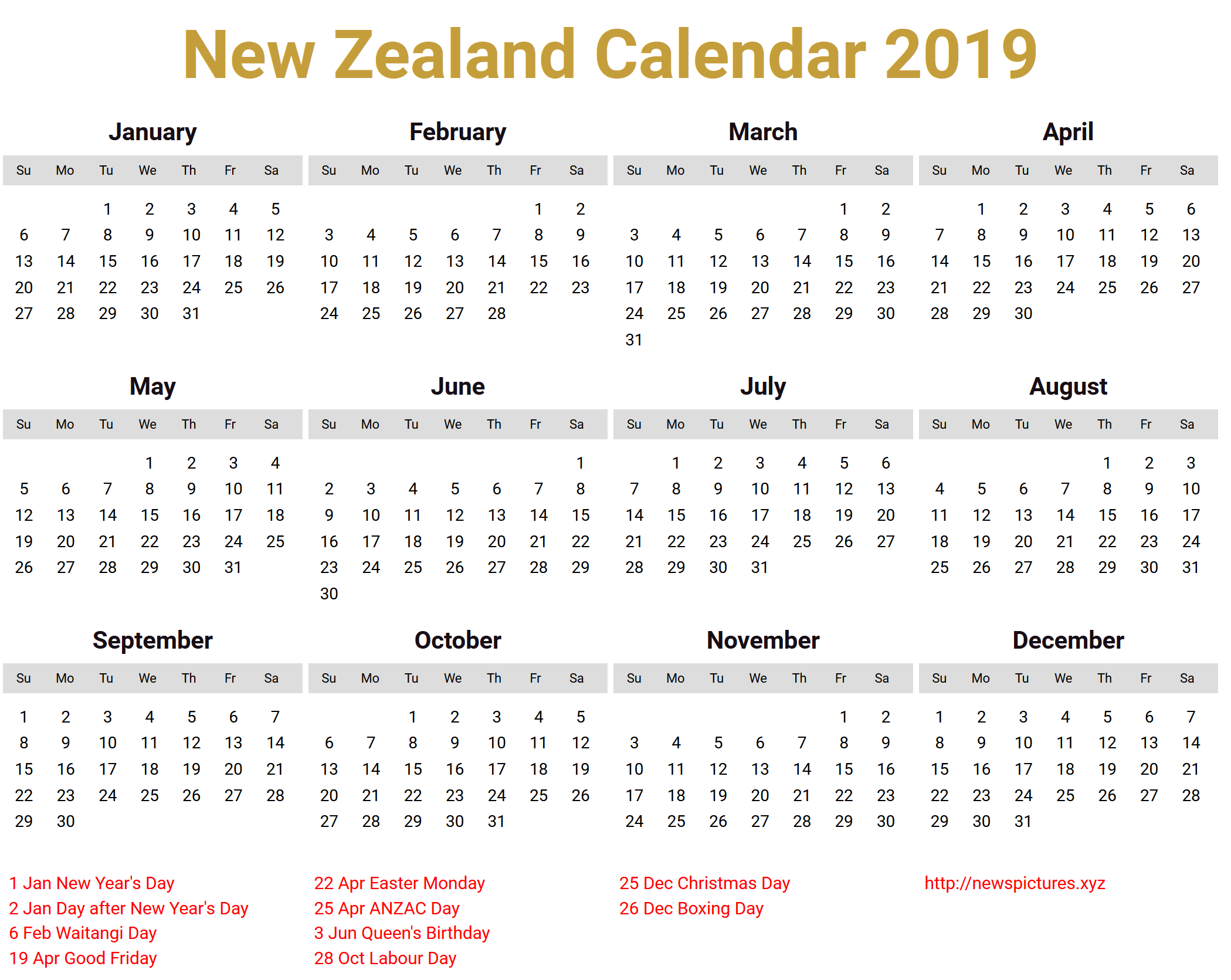 Image for New Zealand Calendar 2019 download Holiday