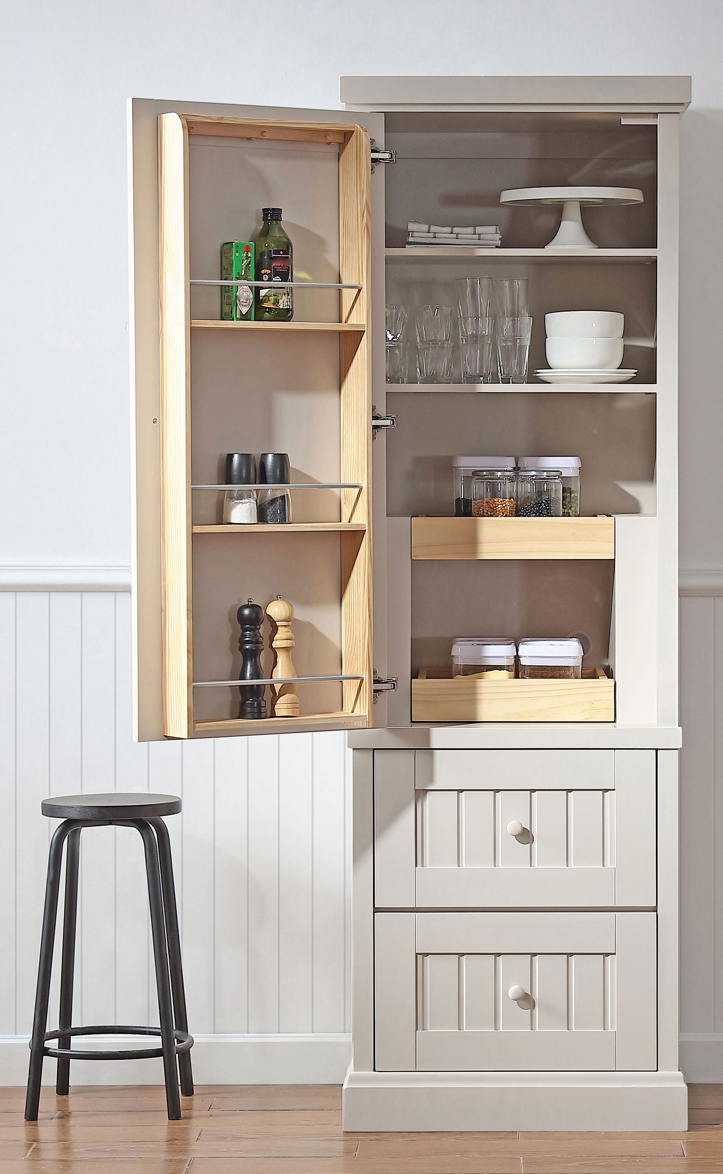 Space in the kitchen by adding shelves and glass canisters with seals - In Need Of Extra Storage Space But Don T Want To Completely Renovate Your
