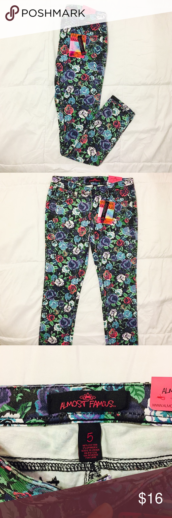 Floral Skinny Jeans Denim floral skinny jeans from American Eagle. Size 5. Really cute, brand new with tags! Almost Famous Jeans